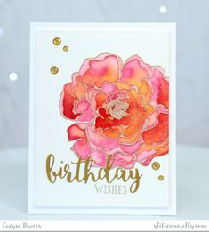 Birthday Wishes – Mondo Peony in Avery Elle liquid watercolour