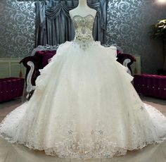 2014 New Arrival Bling Bling Crystals luxury A-line Sweetheart cathedral train Ball Gown Wedding Dresses