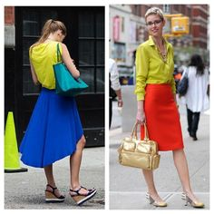 Citron shirt and bright skirt!  Love it!