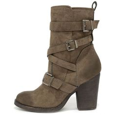 Madden Girl Kloo Stone Buckled Mid-Calf Boots ($79) ❤ liked on Polyvore featuring shoes, boots, ankle boot, brown, madden girl, mid-calf boots, bootie boots, buckle ankle boots and short brown boots #midcalfboots