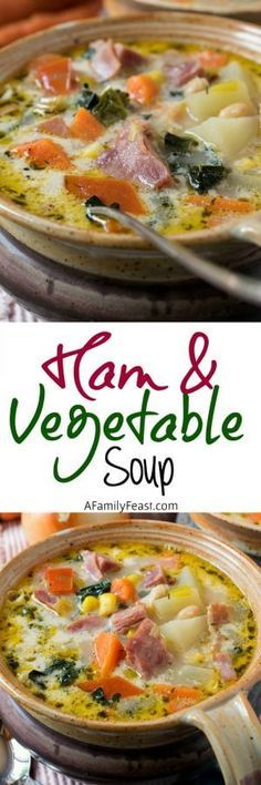We made this with chicken and it was delicious! Ham and Vegetable Soup - A delicious soup, perfect for using up a leftover ham bone! Filled with lots of healthy vegetables in a creamy broth. Fall Recipes, Soup Recipes, Dinner Recipes, Cooking Recipes, Chowder Recipes, Bacon Recipes, Chicken Recipes, Sopas Low Carb, Gastronomia