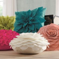 Dimensional Petal Pillows...for a flower lover like me, these are a pure delight!