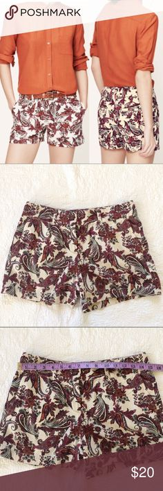Ann Taylor LOFT Red Paisley Linen Shorts -Zip fly with hook closure. Summer berry color.  - Excellent Preowned Condition.  - No Trades. LOFT Shorts