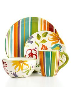 Clay Art Dinnerware, Floral Stripe Collection - Casual Dinnerware - Dining & Entertaining - Macy's
