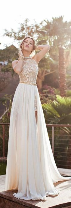 Ivory Lace Hi-lo Wedding Gowns Sweep Train Sleeveless Backless Chiffon Bridal Gowns