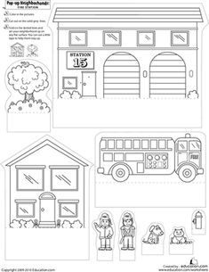 First Grade Paper Projects Worksheets: Pop-Up Neighborhoods: Fire Station Pop Up, Maternelle Grande Section, The Neighbourhood, People Who Help Us, Community Helpers Preschool, Community Workers, Fire Prevention, Cardboard Crafts, Foam Crafts