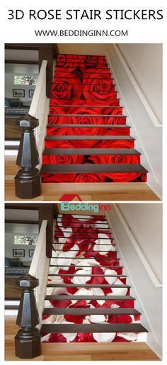 Romance is filled with room with rose petals. The default price online is for 82*305cm. When you choose larger size (another 4 sizes)or more quantities according to your stairs, the price is changed accordingly. In addition, it is stuck on the wall and specializes in waterproof.