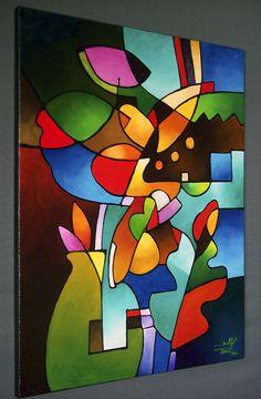 Cubist Still Life Original Abstract Painting acrylic