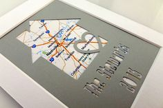 Personalized Home Map Matted Gift  Anniversary Gift  by HandmadeHQ, $13.00
