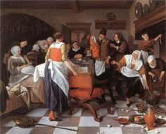 Jan Havickszoon Steen (Leiden 1626 – Leiden 1679)  Celebrating the Birth 1664