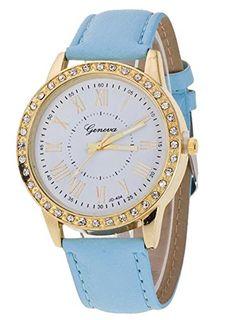 18caf9224ec Pretty Women Crystal Dial Charm Wrist Watch Leather Style Band Quartz  Bracelet Watch Blue