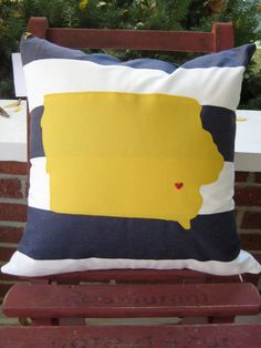 Novelty state pillow by sewhipandhumble on Etsy, $35.00