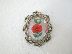 Lucite Brooch Pendant Reverse Carved Red Rose by GallivantsVintage