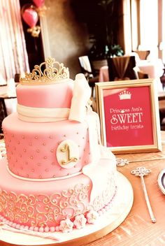 Here is a cake for the baby girl you may (ONE DAY) have Steph!! Beautiful Princess 1st Birthday Cake!