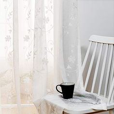 ☀HIGH-GRADE MATERIAL. Luxurious 100% polyester voile fabric. We are known for its durability & quality control.☀SIZES TO FIT EVERY NEED. Embroidery Sheer Wi Lace Window, Window Sheers, White Sheer Curtains, Window Curtain Rods, Voile Curtains, Sheer Curtain Panels, Velvet Curtains, Hanging Curtains, Bedroom Drapes