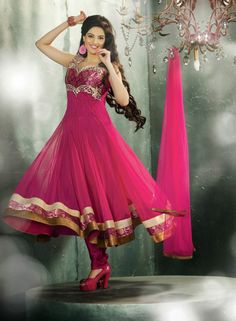 An excellent fuchsia color net readymade anarkali salwar kameez will make you appear highly stylish and graceful. Anarkali Churidar, Anarkali Dress, Pakistani Dresses, Indian Dresses, Salwar Kameez, Kurti, Ethnic Outfits, Indian Outfits, Latest Wedding Suits