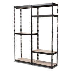 Baxton Studio Gavin Metal 7-Shelf Closet Storage Racking Organizer - BH06/BH09-BLACK-SHELF
