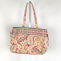 b42d99781123 Vera Bradley Tie Tote bag Capri Melon retired pattern 15 x 9.5 x 5 pink  green