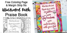 Free coloring page and Bible journal margin strip. Page fits Illustrated Faith Praise Book