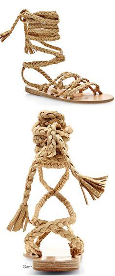 Ancient Greek Sandals ● 2014, Braided Strap Suede Sandals