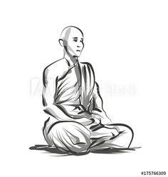 Vector Line Sketch Meditating Monk - Meditation Sketch Drawing Reference, Body Reference, Line Sketch, Best Meditation, Spray Paint Art, Free Art Prints, En Stock, Sketch Painting, Drawing Poses