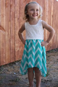 Seriously too stinkin' cute!!!!   Chevron, and Lace high low dress in Mint Littles Collection