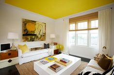Yellow ceiling paint color ideas with white wall for living room Yellow Ceiling Paint, Colored Ceiling, Ceiling Color, Interior Design Advice, Interior Decorating, Living Room Arrangements, Living Styles, White Walls, Home And Living