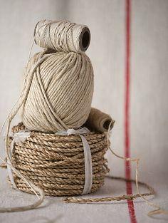 brown string & french linen... Sznurek i francuski len.