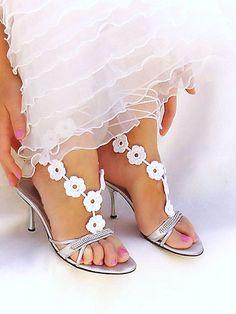 Wedding crochet barefoot sandals,