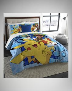 Pokemon Pikachu Twin Full Comforter Pillow Shams Pillows Boy Room