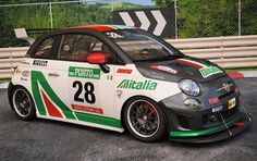 If you're going to race a tiny Italian car why not secure a big sponsor? Here in fictitious Alitalia livery is an equally fictitious Abarth FIAT 500 racer with lots of carbon and lots . Fiat 500 Car, Fiat 600, New Fiat, Fiat Abarth, Smart Fortwo, 3d Studio, Automotive Art, Old Models, Rally Car