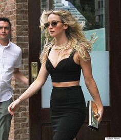 Jennifer Lawrence Steps Out In A Crop Top And Pencil Skirt