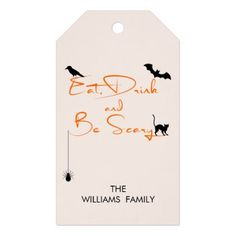 Eat Drink and Be Scary Halloween Gift Tags - modern gifts cyo gift ideas personalize