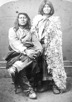 Taken between 1875 and 1880 by Charles Savage, evidence suggests that this image may be of Northwestern Shoshone chief Sagwitch (1822-1887) and his last wife, Beawoachee.  Sagwitch was a survivor of the 1863 Bear River Massacre near Preston, Idaho.  Three of his sons also survived, including a two-year-old shot seven times.