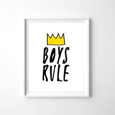 Nursery Art Boys Rule, Printable Wall Art, 8x10, Boys Room Decor, Nursery, Typography, Black and White Nursery, Monochrome,Illustration by woolfwithme on Etsy https://www.etsy.com/listing/253652808/nursery-art-boys-rule-printable-wall-art