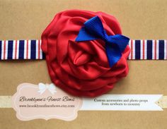 Rose Fourth of July bow, hair bow, baby bow, baby headband, photo prop   on Etsy, $8.95