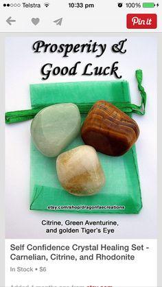 Set cristales prosperidad y buena suerte (autoconfianza): Cuarzo citrino, Aventurina verde y Ojo de tigre dorado