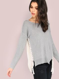 """Two tone is the best tone. Featuring stretch knit material, a scoop neckline, colorblock look and side lace up detailing. Sweater measures 23"""" in. from top to bottom hem. Team with medium washed skinnies and white sneakers. #autumn #MakeMeChic #style #fashion #newarrivals #fall16"""