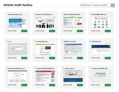 Website Health Ranking - Results of Various Tests. Website Ranking, Health Care, Health