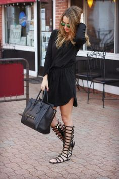 Gladiator Sandals - 50 Hot Spring Outfits On The Street Mode Outfits, Fashion Outfits, Fashion Trends, Fashion Women, Spring Summer Fashion, Spring Outfits, Spring 2014, Black Outfits, Spring Style