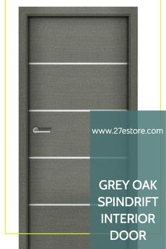 This interior wood door echoes that color with its wide panels of horizontal grey oak veneer. The narrow decorative metal strips add an interesting design element. Unlike many of the interior doors on the market, ours are constructed of a solid structure slab with a superior quality grey oak veneer applied on top.