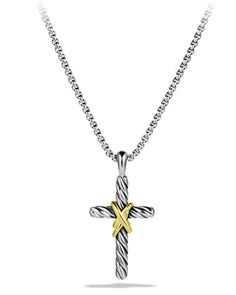 X Cross with Gold on Chain by David Yurman at Neiman Marcus.