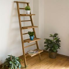 teak leaning plant stand