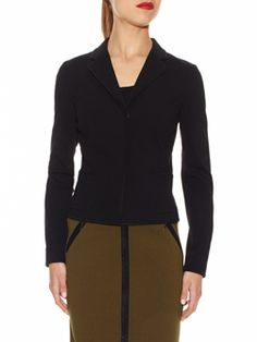 """Doncaster.com-M225JK09BLA - great ponte knit pieces -  Shrunken Notched Collar Jacket In Viscose Double Knit Cloth. Full length sleeves, covered dyed-to-match snaps at center front, all-over black faux suede trim, front patch pockets, front and back princess seams. Unlined, 20"""". Dry Clean Only. Imported. 69% VISCOSE, 25% NYLON, 6% SPANDEX, TRIM: 100% POLYESTER plus olive skirt with black trim."""