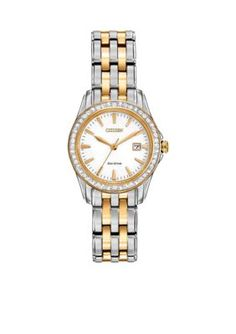 Citizen Women's Women's Eco-Drive Two Tone Stainless Steel Swarovski Watch - Two Tone - One Size