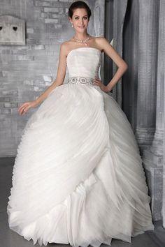 Tulle Strapless Elegant Bridal Dresses - Order Link: http://www.theweddingdresses.com/tulle-strapless-elegant-bridal-dresses-twdn0040.html - Embellishments: Crystal , Ruffles , Sash; Length: Floor Length; Fabric: Tulle; Waist: Natural - Price: 147.7USD