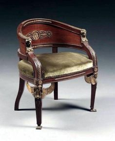 An Empire Style Gilt-Bronze Mounted Mahogany Chair  French, Circa 1900.