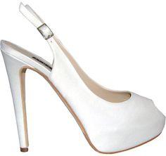 Albano sposa sandali bianco con tacco matrimonio