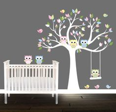 Kids Owl Owl Tree Decal Swing Birds Owls Nursery Tree decal unisex pastel by BeautifulWalls on Etsy https://www.etsy.com/listing/204604975/kids-owl-owl-tree-decal-swing-birds-owls