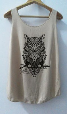 Owl with Tree Unisex Tank Top **Color: light brown** Thank you for visiting ☆For more cool stuffs, give us a visit to our Shop ☆